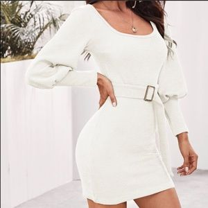 White fitted dress with belt and long sleeves